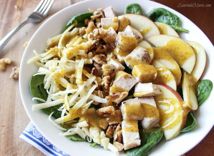 Apple white cheddar and chicken salad with toasted walnuts and honey ...