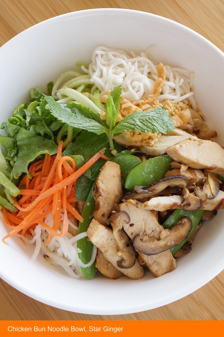 "Chicken Bun Noodle Bowl {pronounced ""Boon""} with pan-seared chicken..."