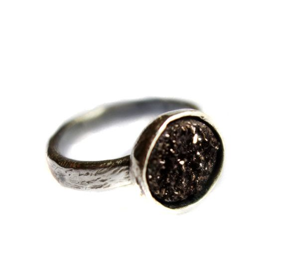 scratch band drusy solitaire shiny edition black 10mm stone