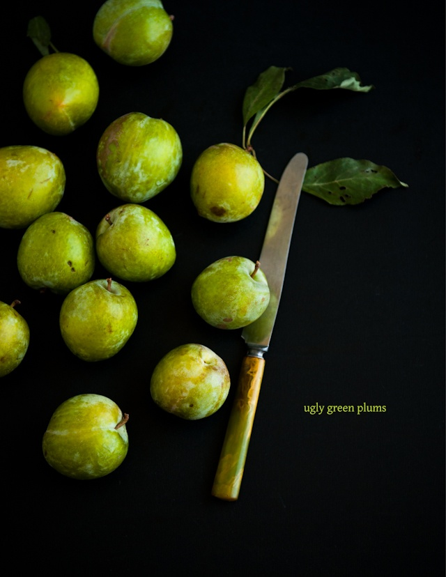 Desserts for Breakfast: Cornmeal Olive Oil Cake, with Ugly Green Plums