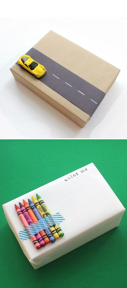 Already thinking of where I am going to use this idea.  Cute gift wrapping ideas for kids