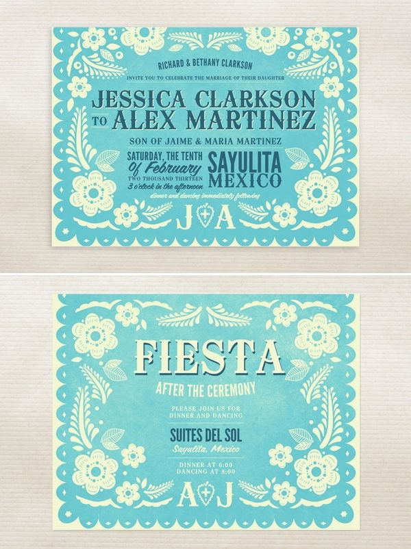 Minted Papel Picado Wedding Invitations