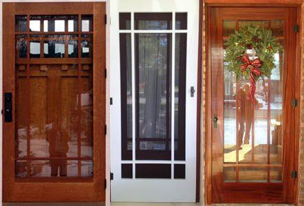 Craftsman screen storm doors living room project for Wood front door with storm door