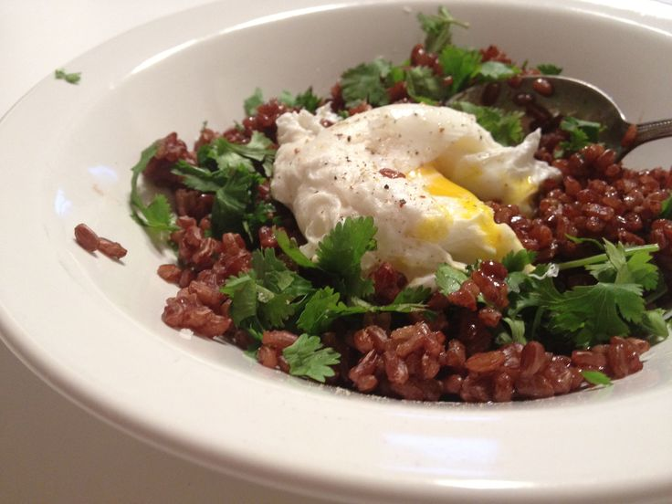 ... cupboard poached egg over red rice with cilantro and black truffle oil