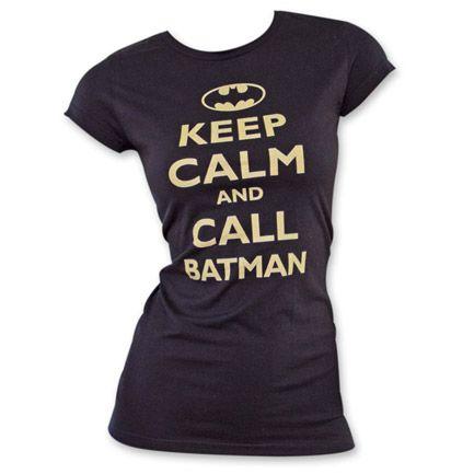 Batman Keep Calm Women's T-Shirt - Black