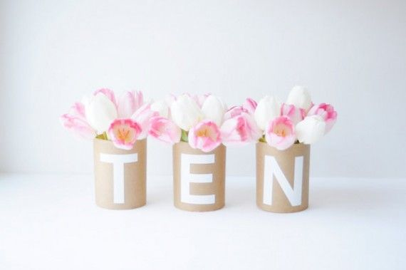 DIY kraft paper centerpiece. by mary swenson for project wedding. #diy #centerpiece #kraft #paper #wedding #shower #party