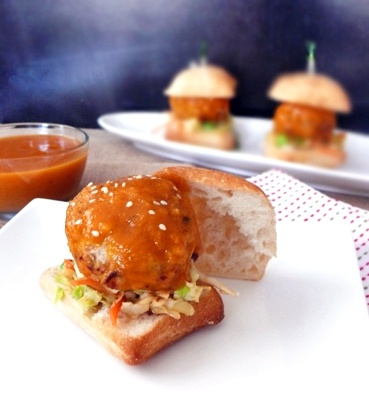 Turkey Meatball Sliders with Bourbon, Peach BBQ Sauce | Recipe