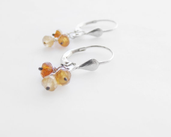 Micro hessonite harnet earrings, $42.00 #etsy #handmade #jewelry #gems #silver #fashion
