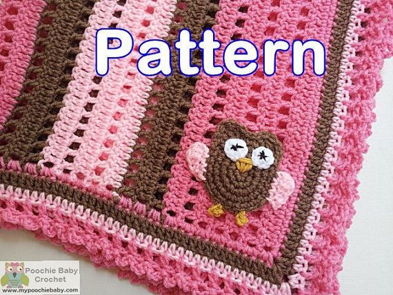 Crochet Owl Blanket : PATTERN Crochet Baby Owl Blanket by PoochieBaby on Etsy