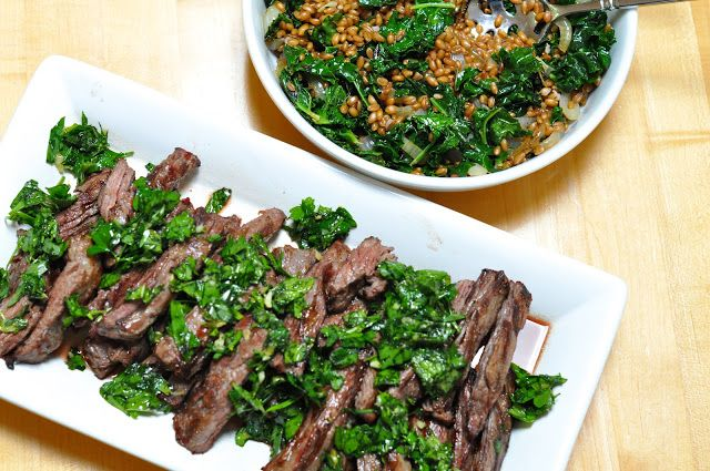 grilled skirt steak with herb salsa verde served with a wheat berry ...