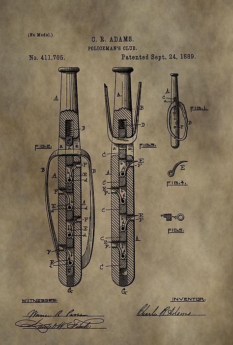 Police Baton Patent Print by Dan Sproul: pinterest.com/pin/421297740115190158