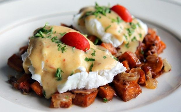 poached eggs recipes dishmaps andouille sausage hash with poached eggs ...