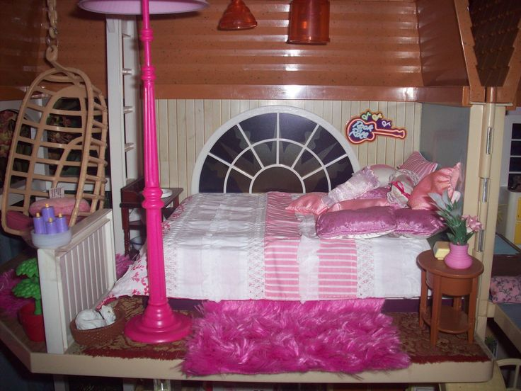 The master bedroom in a Barbie/Hannah Montana dollhouse.
