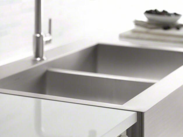 Kohler Top Mount Farmhouse Sink : KOHLER K-3944-1 Vault Top-Mount Kitchen Sink with Single Faucet ...