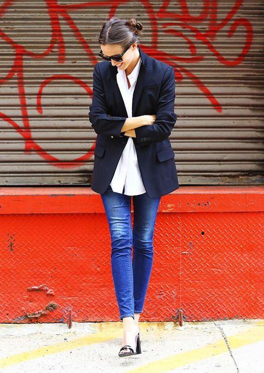 Street Style - Navy Blazer, White Button Down, Jeans