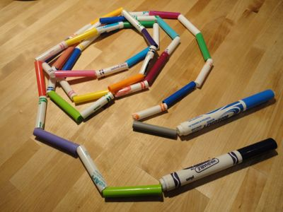 Make jump rope out of empty markers. This post links to a tutorial -- looks like it's good to cut the pens so they're similar in length. Another fun #DIY project!