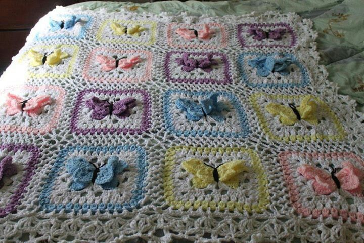 Crochet Butterfly Pattern : butterfly kisses afghan crochet pattern
