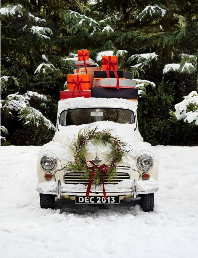 Vintage holiday--car, wreath, packages