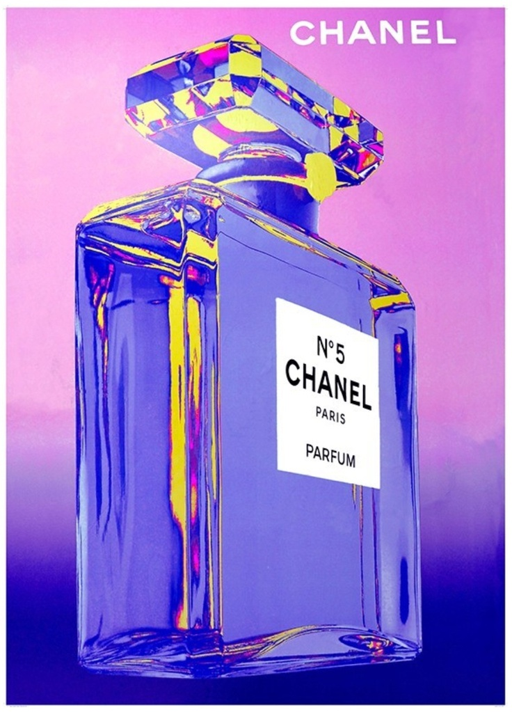 Vintage Poster - Chanel No. 5 - Parfum - Perfume - Paris - Blue - Neon - Luxury - Pop Art - As seen on The Block Sky High