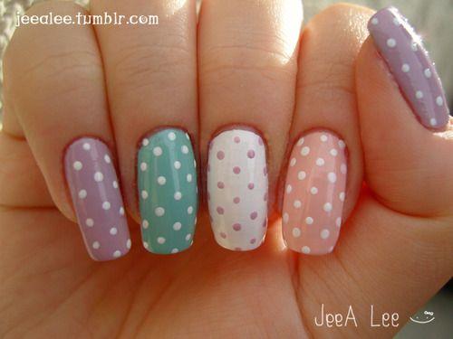 "Cute ""Pastel Dots"" Nails,  via Jeea Lee"