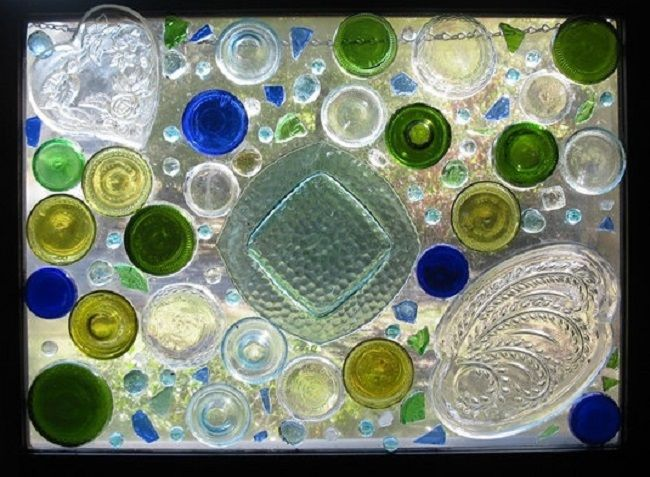 Recycled glass art windows pinterest for Recycled glass art