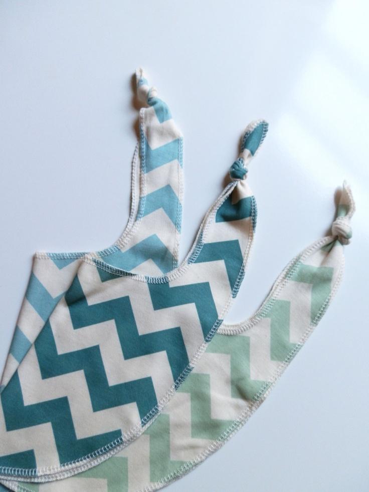 Chevron Bibs, Pick 3, Bright Colored Organic Cotton Bibs, Neutral Baby Gift. $29.65, via Etsy.