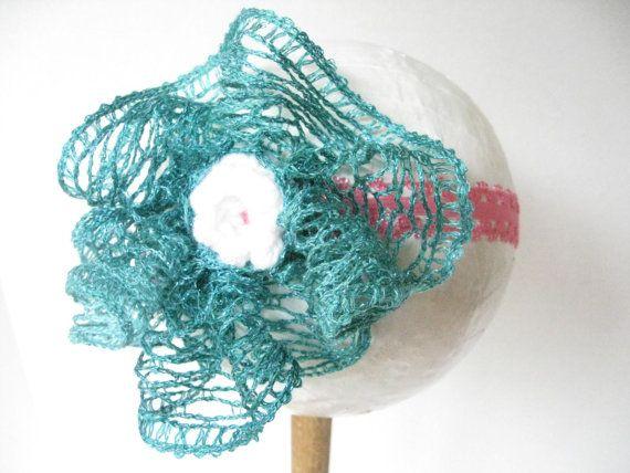 Baby girl sparkly aqua sashay yarn headband by thestylishhatter 4 99