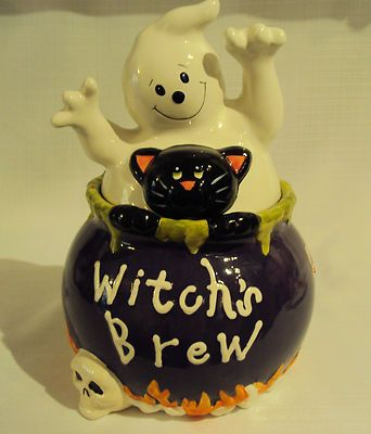 David's Cookies Halloween Witch's Brew Ceramic Cookie Jar Black Cat ...