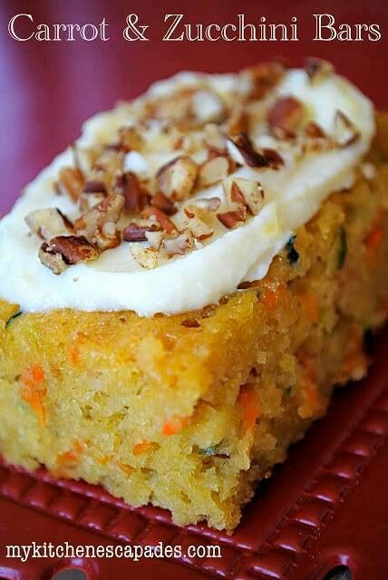 Carrot & zucchini bars...swap applesauce for canola oil, sub out wheat ...