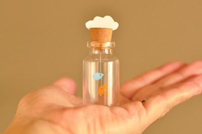 clouds, umbrella, and rain drop in a jar