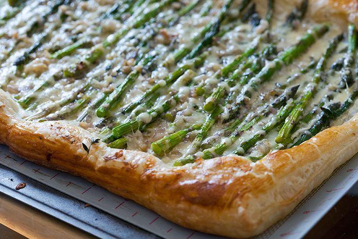 Baby Asparagus, Garlic & Three-Cheese Tart - The Artful Gourmet