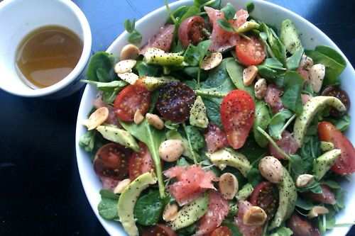 Really into salads these days. spinach watercress pink grapefruit ...