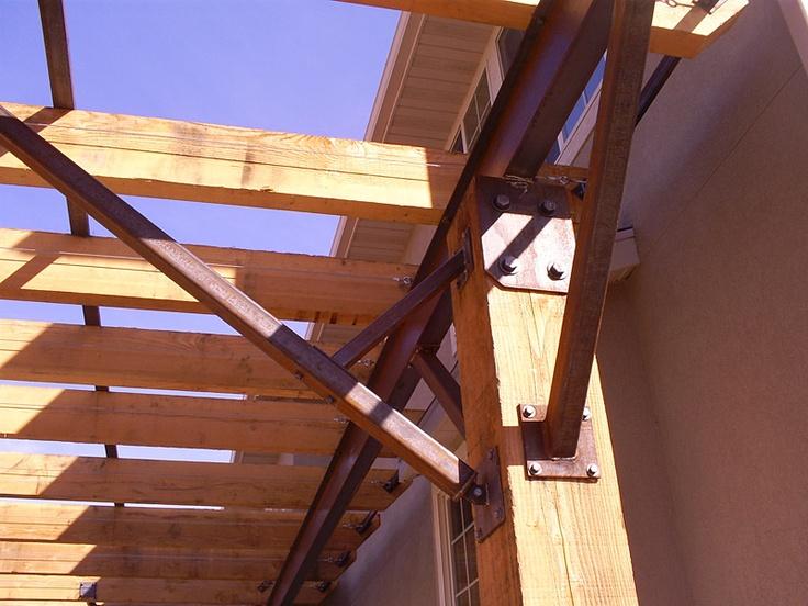 Steel beam and wood pergola asphalt jungle pinterest for Steel and wood pergola
