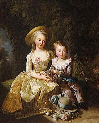 Blog post dedicated to Marie Antoinette's children and what they endured.  When you see the picture of the little Dauphin before the revolution and the one after, you get a visual for what happened.  Tragic.