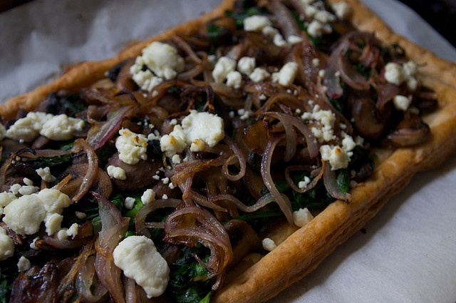 Mushroom and Spinach Tart with Goat Cheese by shutterbean, via Flickr