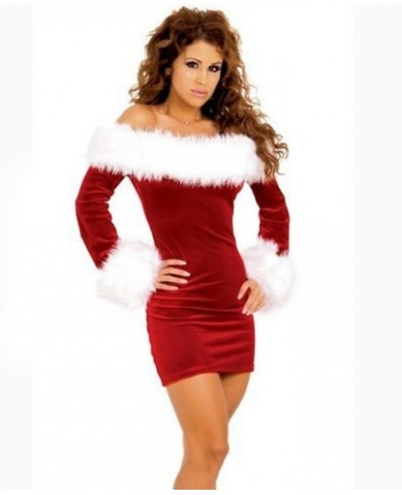 Red Long Sleeves Off-shoulder Dress Christmas Costume