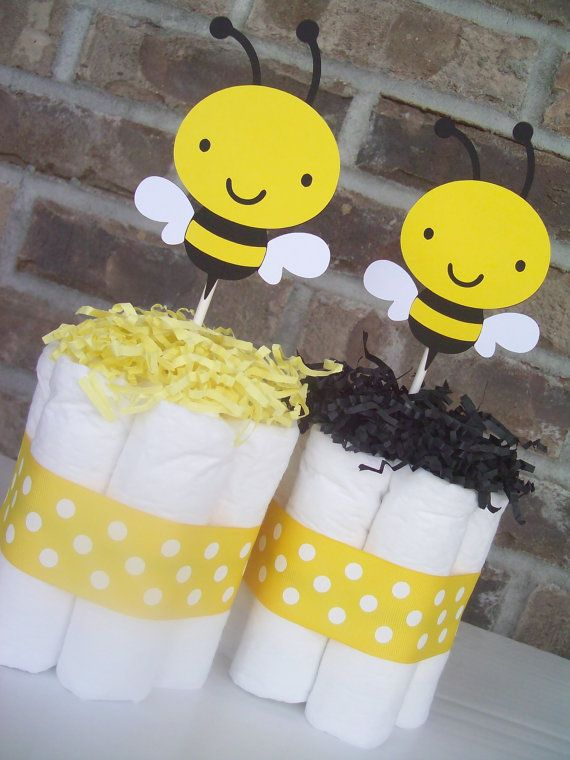 bumble bee diaper cakes set of 6 baby shower decorations. Black Bedroom Furniture Sets. Home Design Ideas