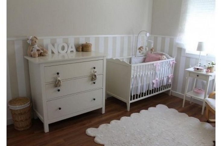 Papel pintado topos bolas friso madera blanco - Papel pintado habitacion bebe ...
