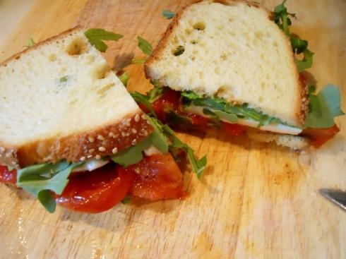 Roasted Tomato, Mozzarella, and arugula sandwich