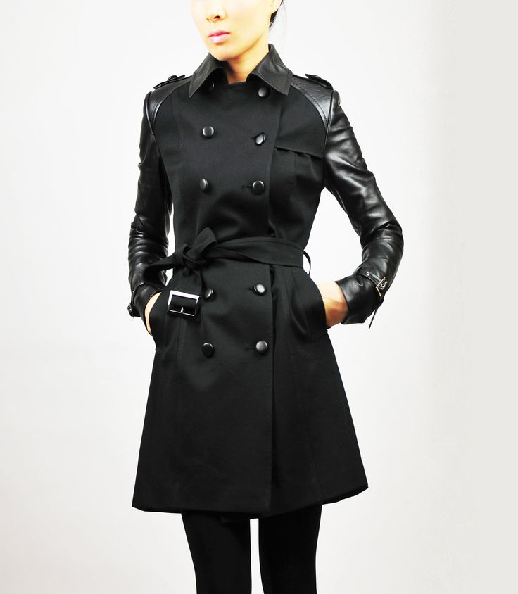 Women's Black Trench Coats A selection of women's trench coats, all in black. Our Heritage Trench Coat is made in England from weatherproof cotton gabardine and is available in five different fits, from slim to an easy fit, reflecting the coat's original design.