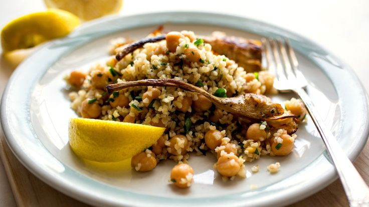 Bulgur and Chickpea Salad With Roasted Artichokes