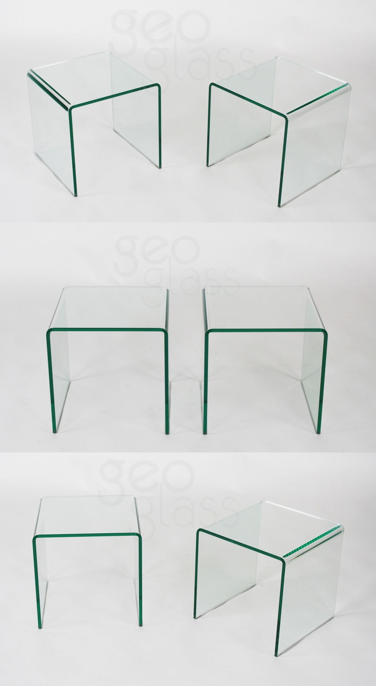 geo glass pair of clear side tables living room pinterest