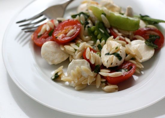 Mozzarella, Orzo, and Snap Pea Salad (adapted from Real Simple)