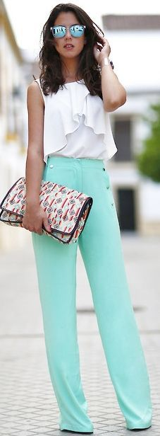 Mint pant and white tank fashion