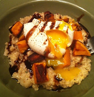 Savoury Oats with Roasted Sweet Potato, Poached egg and Porcini ...