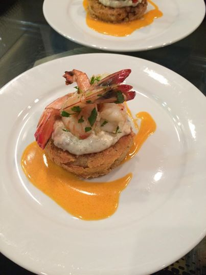 Fried green tomato with shrimp remoulade | yummy! | Pinterest