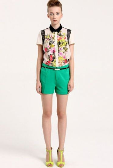 White Short Sleeve Contrast Floral Chiffon Blouse 74