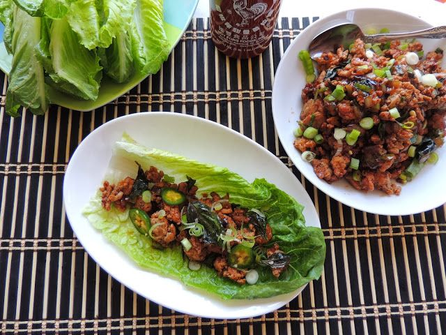Spicy Thai Basil Chicken Lettuce Wraps | Recipes to Try | Pinterest
