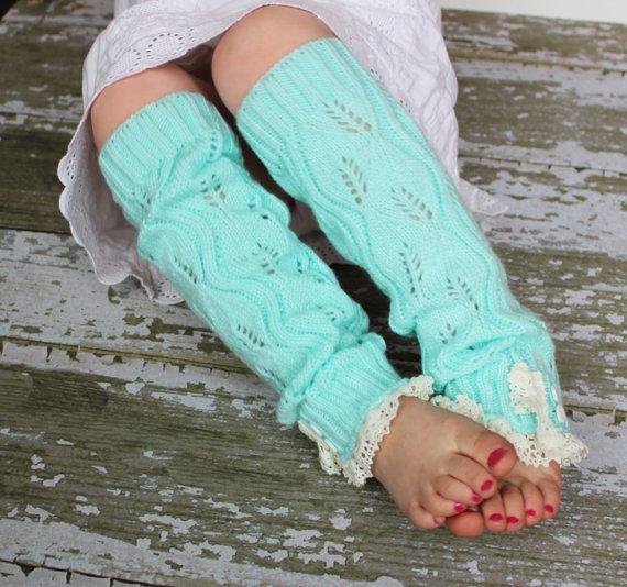 Girls Leg Warmers - Knit Leg Warmers - Lace Leg Warmers - Button Leg