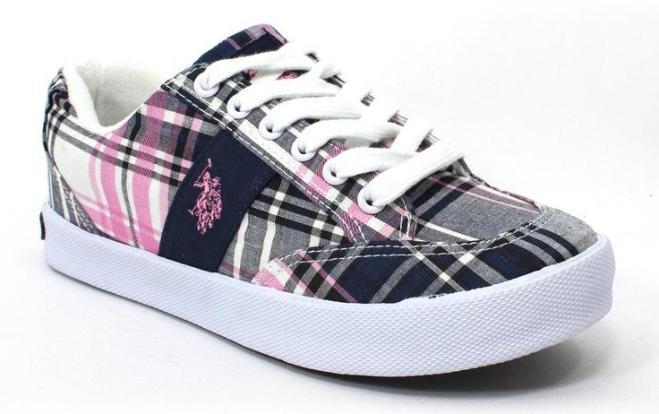 US Polo Assn. Mackay Pink Navy Plaid Sneaker - Athletics - Women